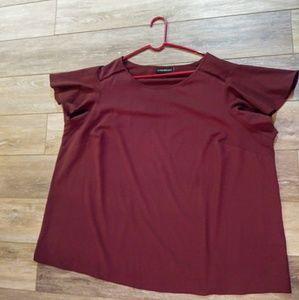 Lane Bryant Maroon flutter sleeve blouse